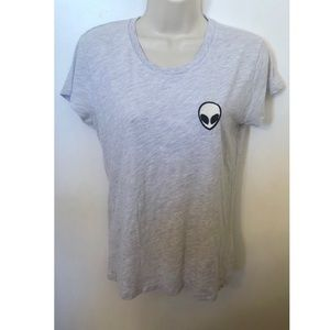 Brandy Melville gray alien patch T-shirt one size